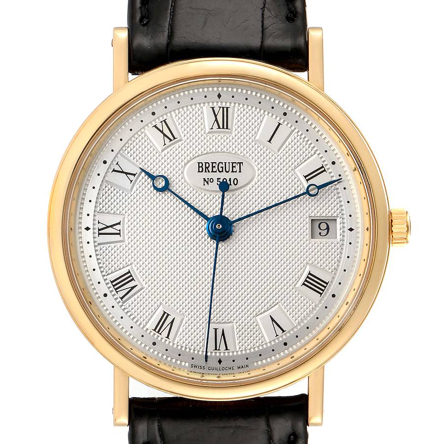 Breguet Classique 18K Yellow Gold Silver Dial Mens Watch 5910 Box Papers SwissWatchExpo