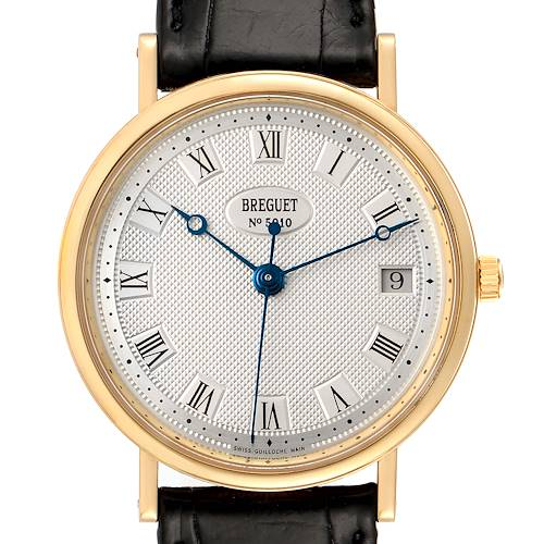 Photo of Breguet Classique 18K Yellow Gold Silver Dial Mens Watch 5910 Box Papers