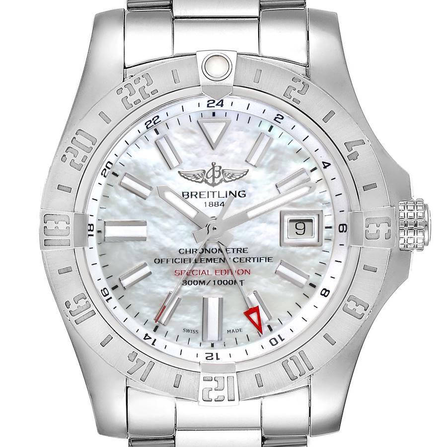 Breitling Aeromarine Avenger II GMT MOP Dial Steel Watch A32390 Box Card SwissWatchExpo