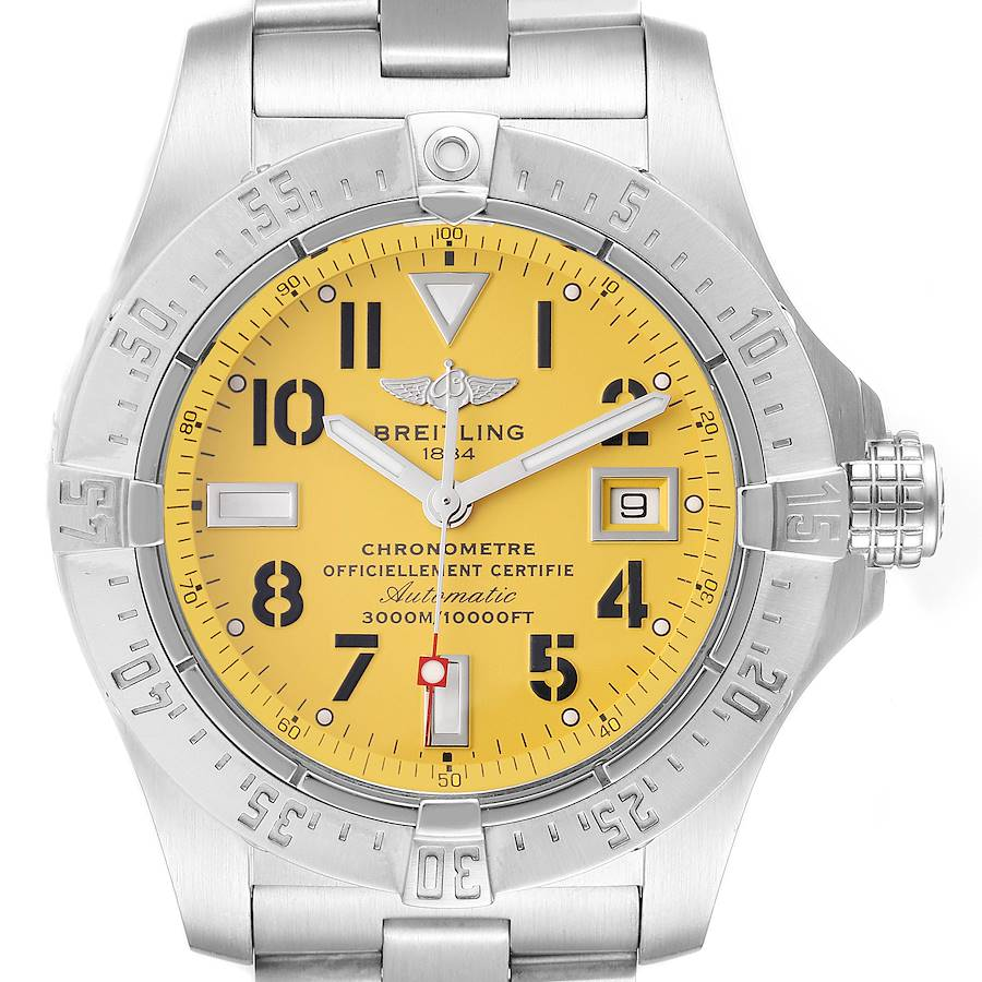Breitling Avenger Seawolf Yellow Dial Steel Mens Watch A17330 Box Papers SwissWatchExpo