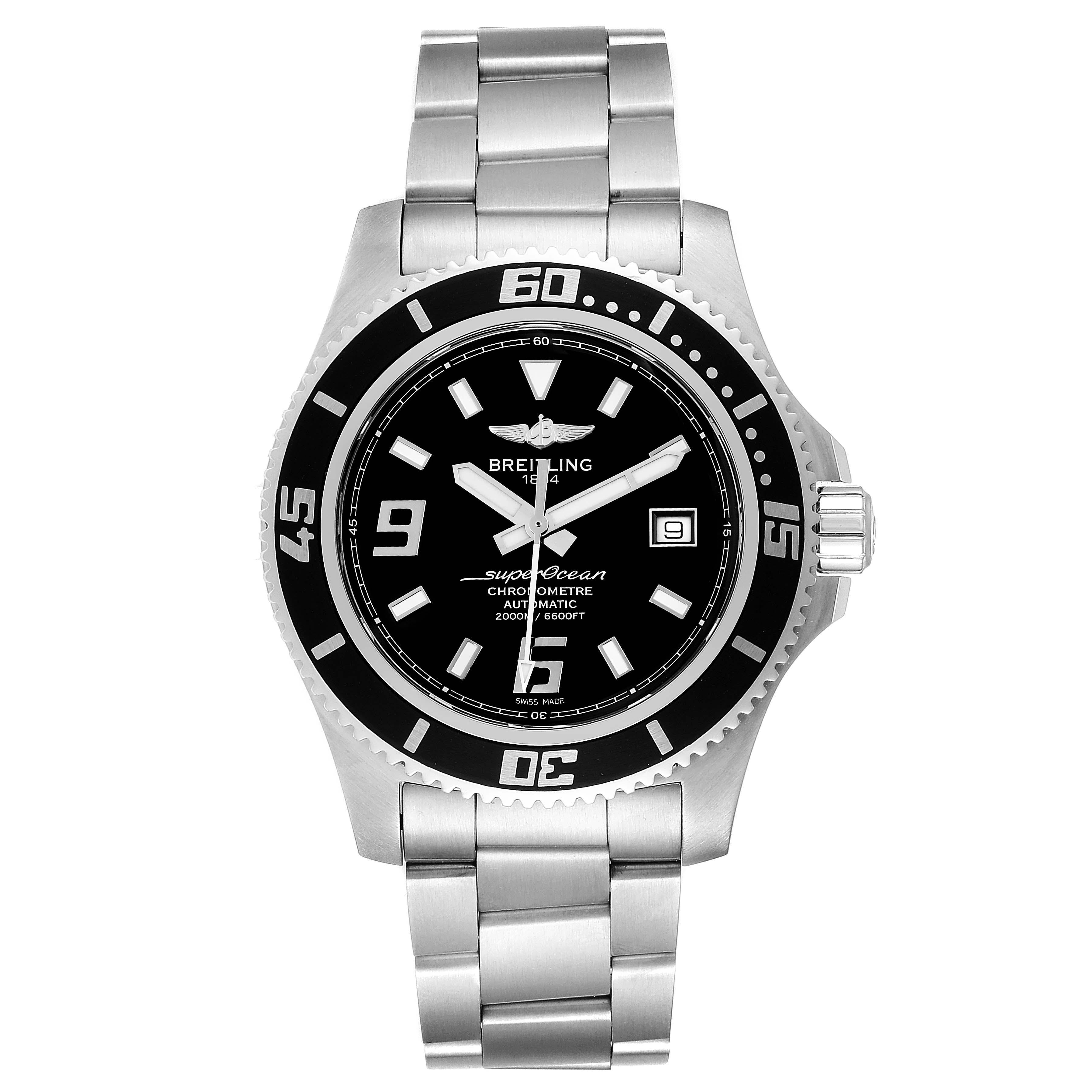 Breitling Aeromarine Superocean 44 Black Dial Steel Mens Watch A17391 SwissWatchExpo