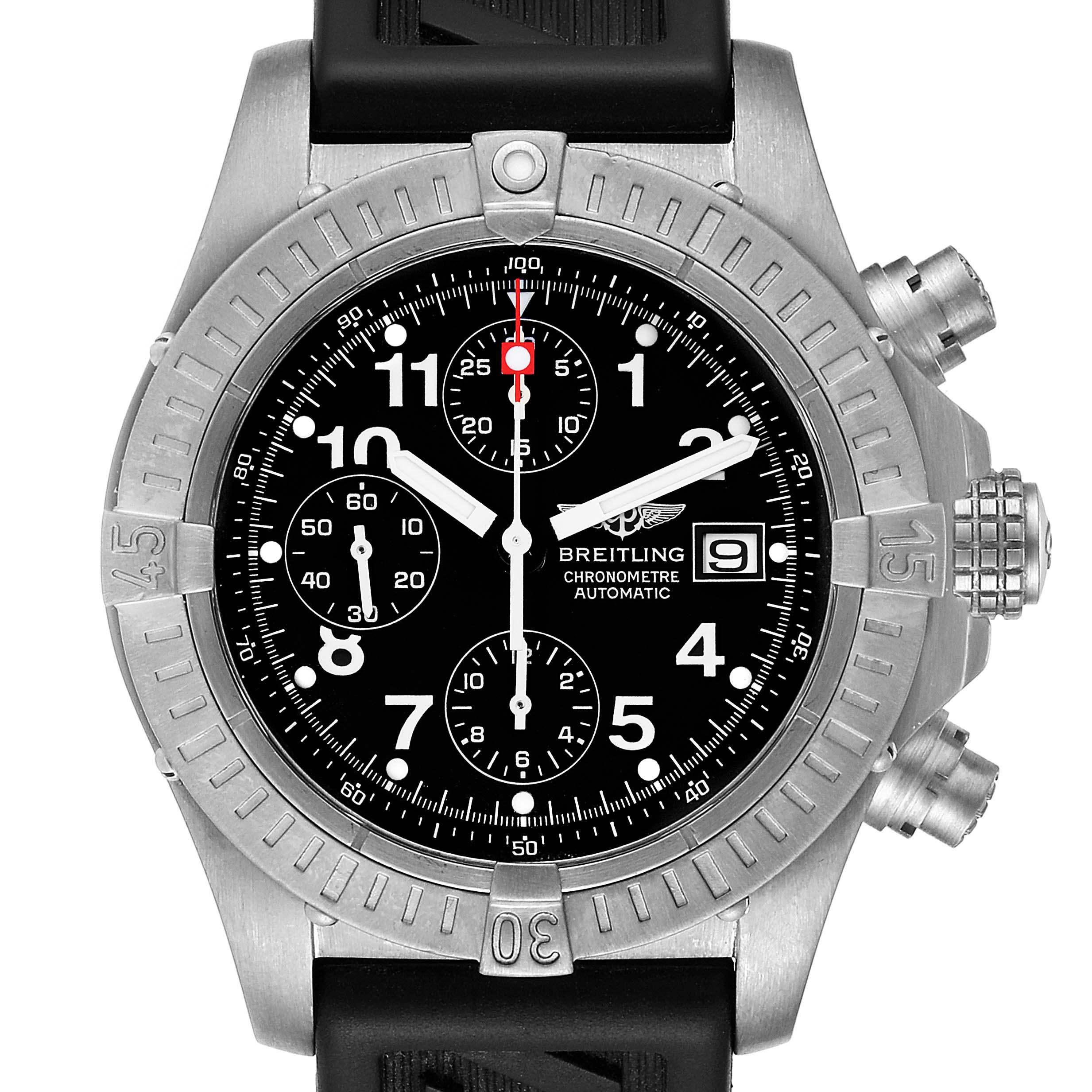 Photo of Breitling Avenger Black Dial Chronograph Titanium Watch E13360 Box