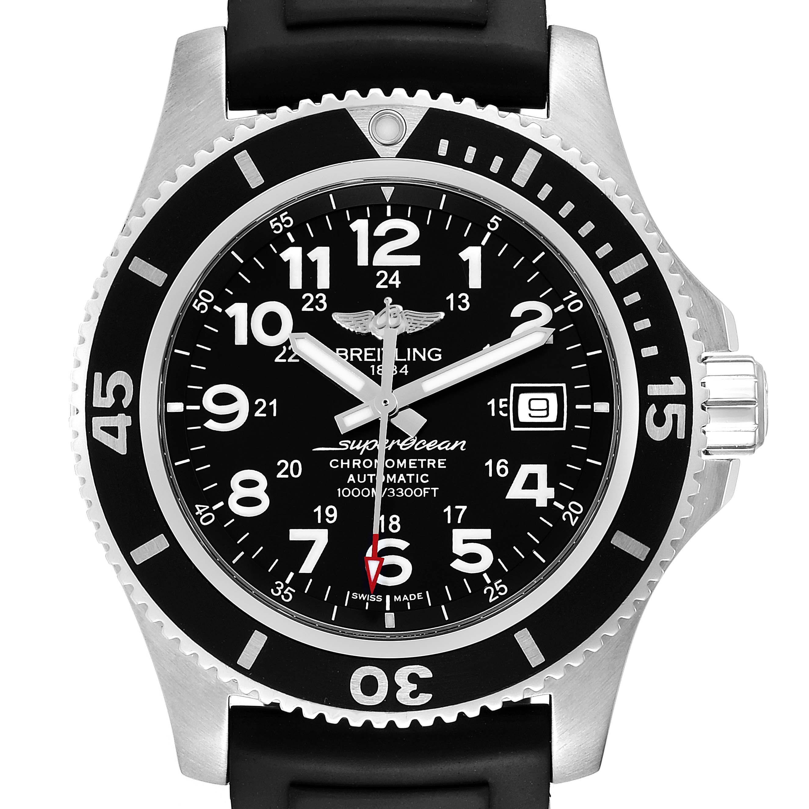 Photo of Breitling Superocean II 44 Black Dial Rubber Strap Mens Watch A17392