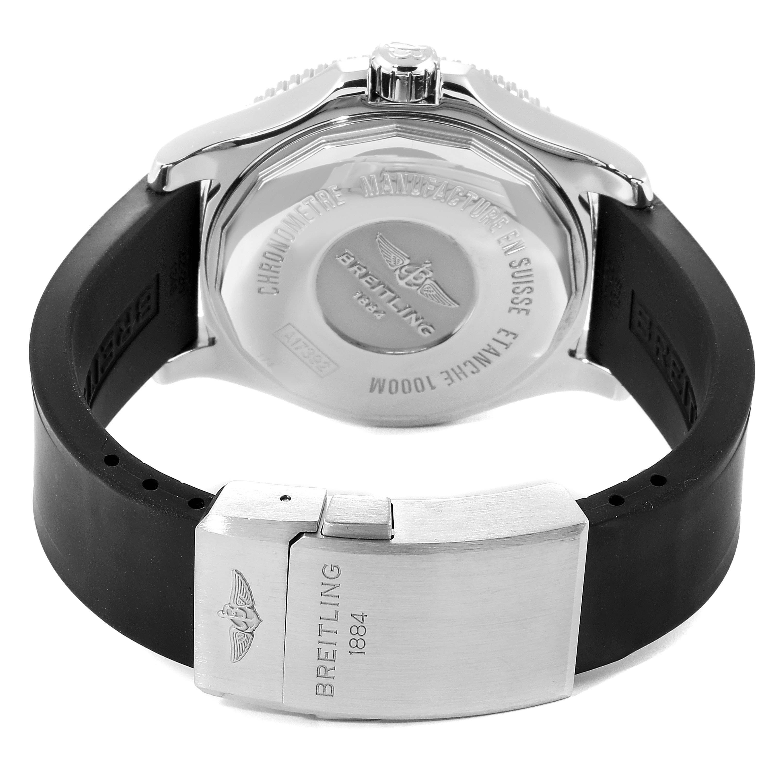 Breitling Superocean II 44 Black Dial Rubber Strap Mens Watch A17392 SwissWatchExpo