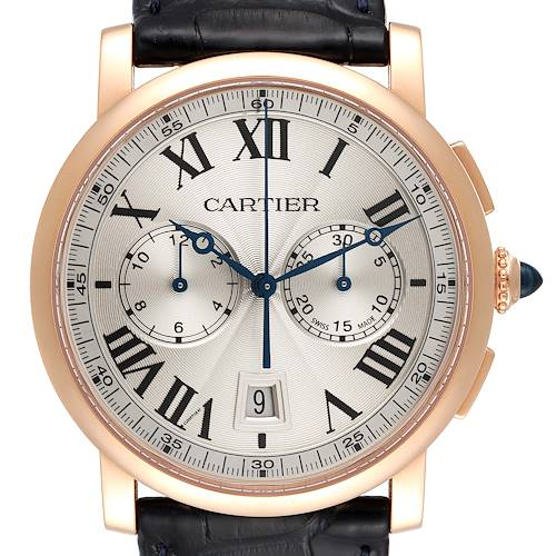 Photo of Cartier Rotonde Chronograph 18k Rose Gold Mens Watch W1556238 Box Card