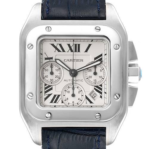 Photo of Cartier Santos 100 XL Silver Dial Chronograph Mens Watch W20090X8