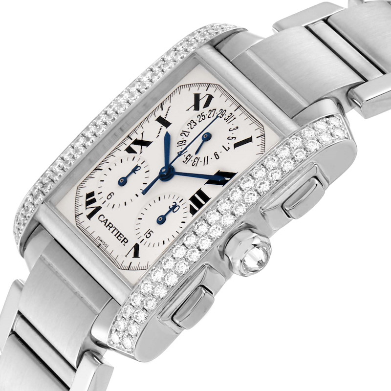 Cartier Tank Francaise Chrongraph White Gold Diamond Mens Watch 2367 SwissWatchExpo