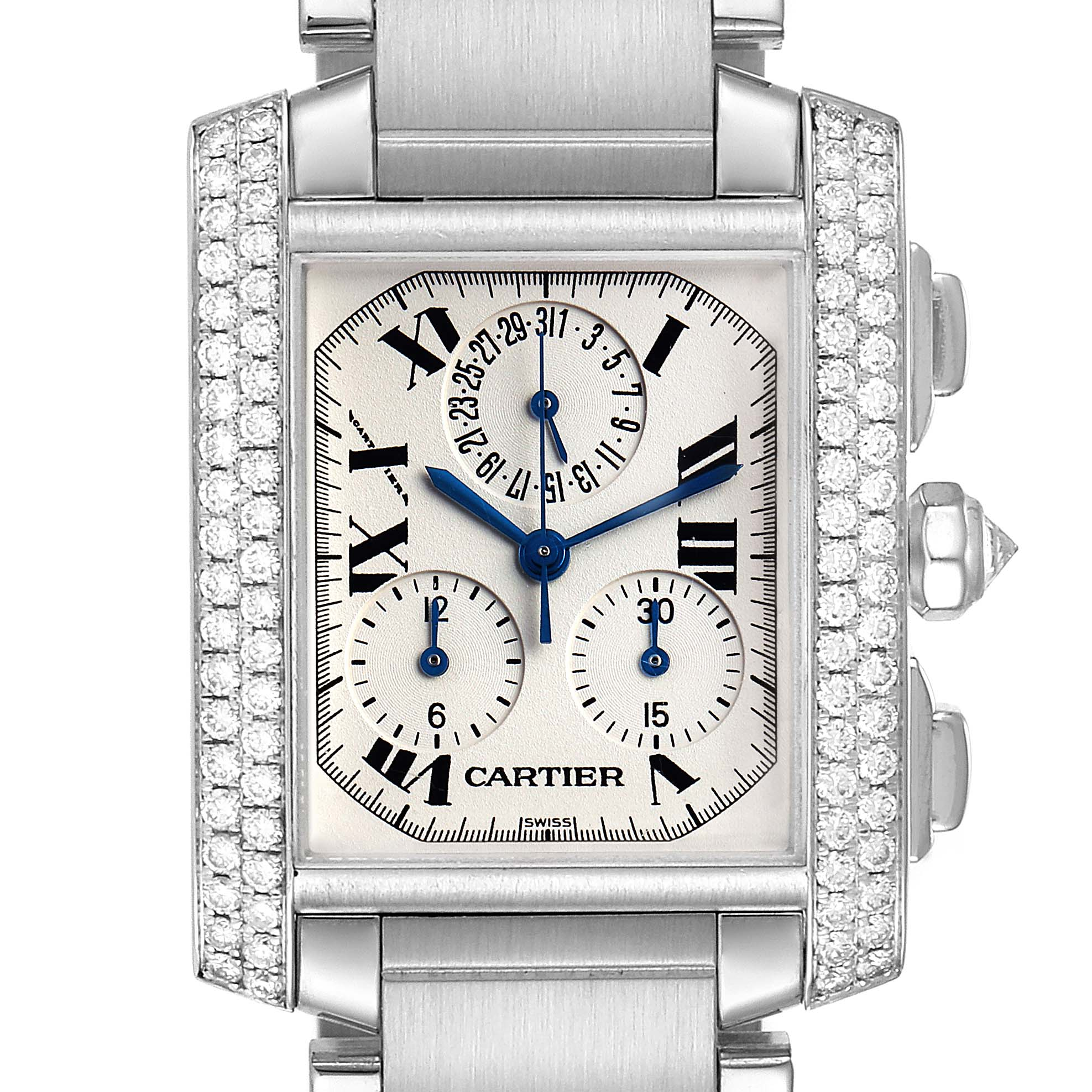 Photo of Cartier Tank Francaise Chrongraph White Gold Diamond Mens Watch 2367