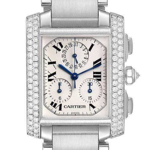 Photo of Cartier Tank Francaise Chrongraph White Gold Diamond Mens Watch 2367
