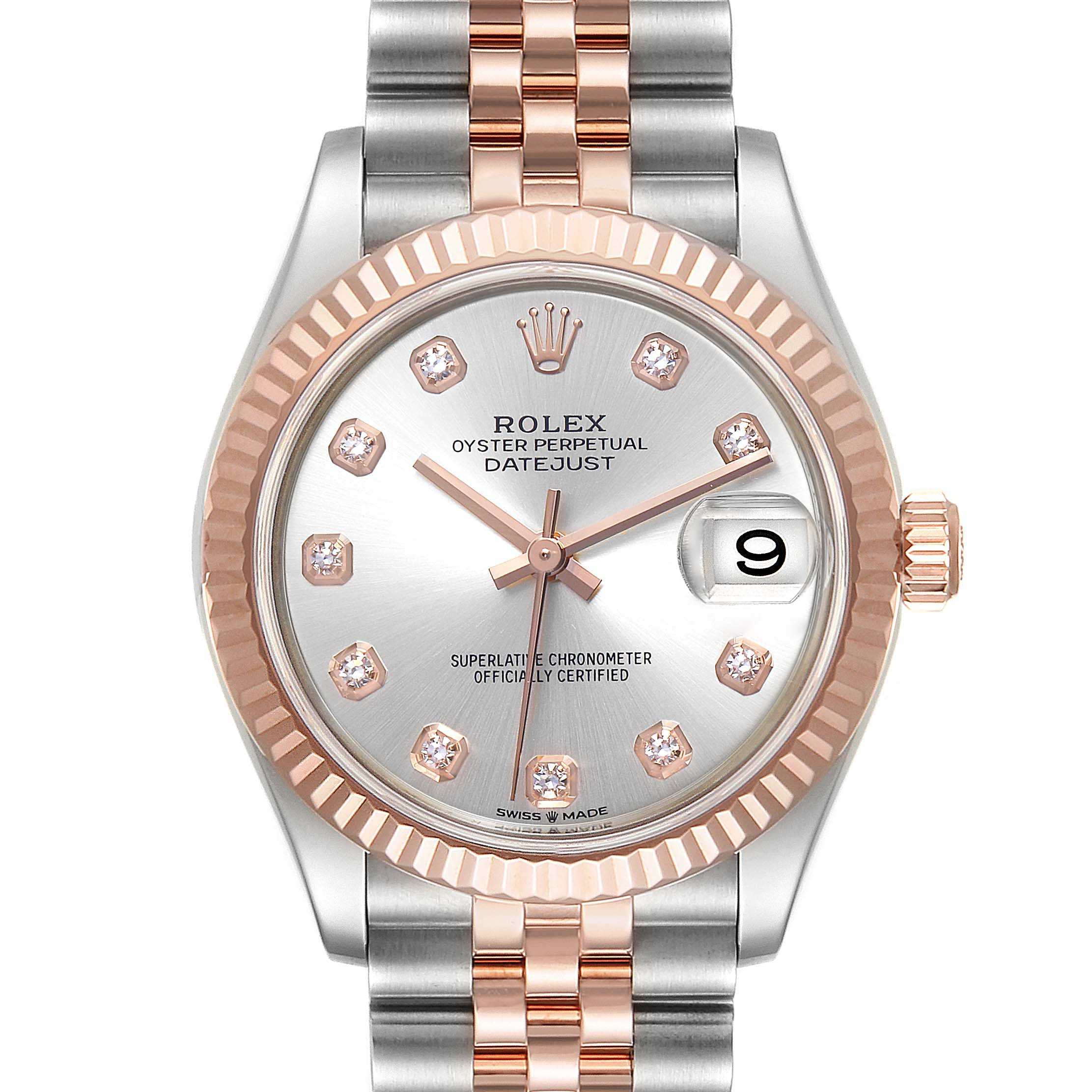 Photo of Rolex Datejust 31 Midsize Steel Rose Gold Diamond Ladies Watch 278271