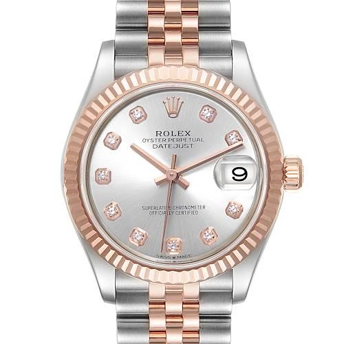 Photo of Rolex Datejust 31 Midsize Steel Rose Gold Diamond Ladies Watch 278271