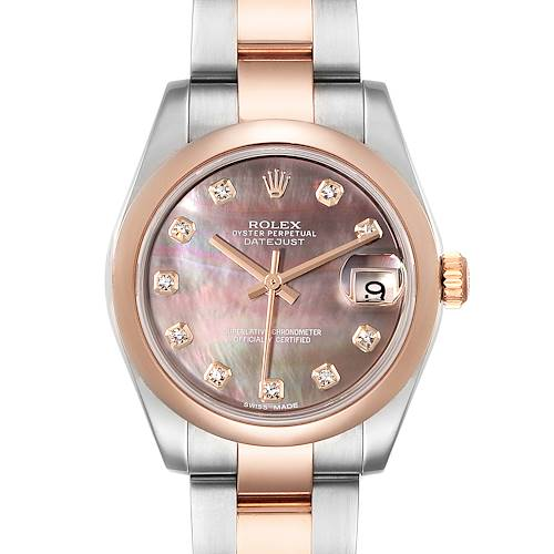 Photo of Rolex Datejust 31 Midsize Steel Rose Gold MOP Diamond Ladies Watch 178241