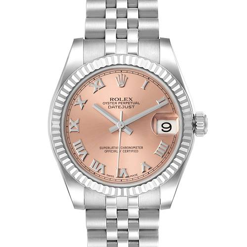 Photo of Rolex Datejust Midsize Steel White Gold Salmon Dial Watch 178274 Box Card
