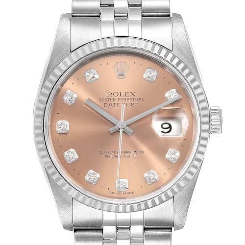 Photo of Rolex Datejust Steel White Gold Salmon Diamond Dial Mens Watch 16234