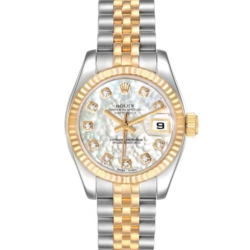 Photo of Rolex Datejust Steel Yellow Gold MOP Diamond Ladies Watch 179173 Box Card