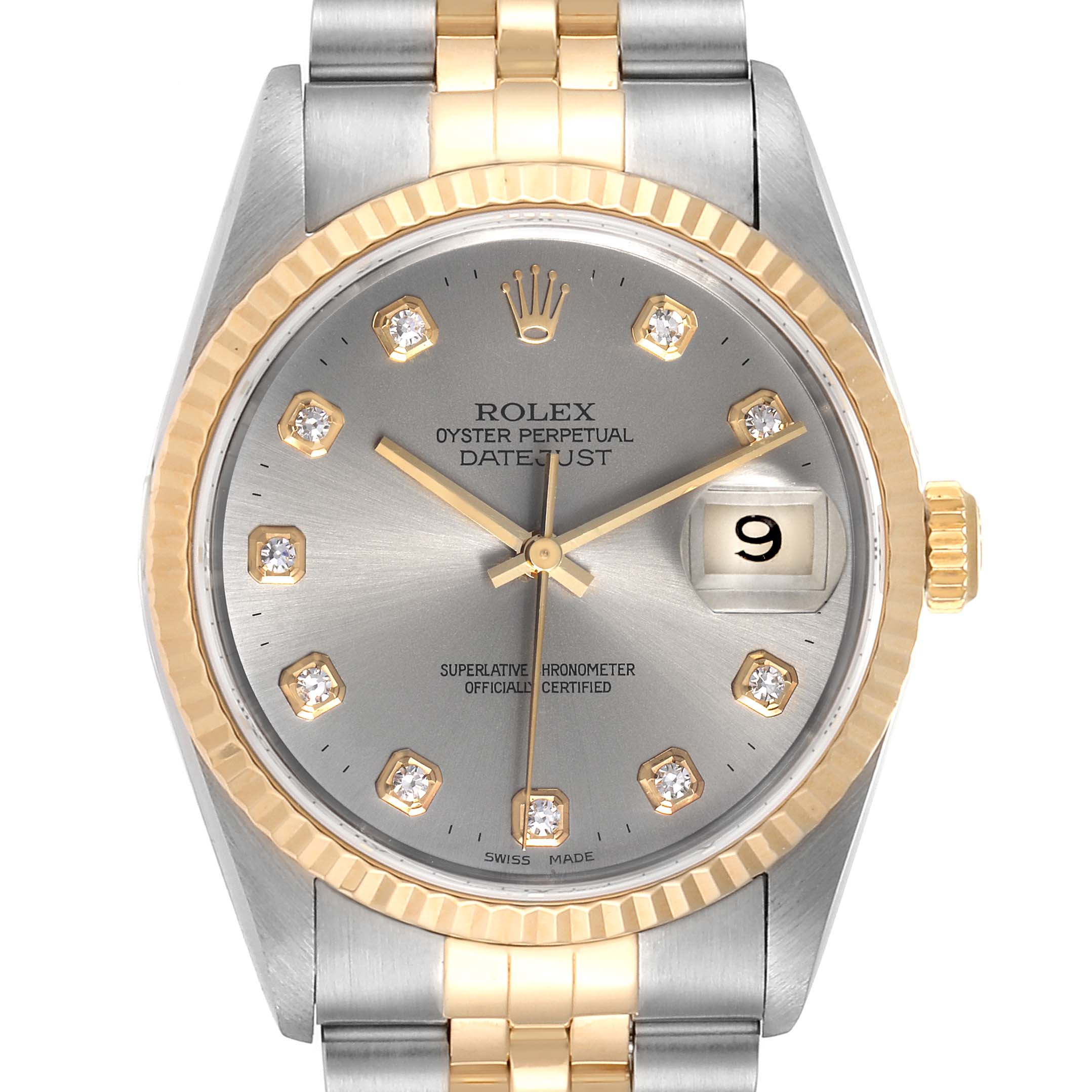 Photo of Rolex Datejust Steel Yellow Gold Slate Diamond Dial Mens Watch 16233 Papers
