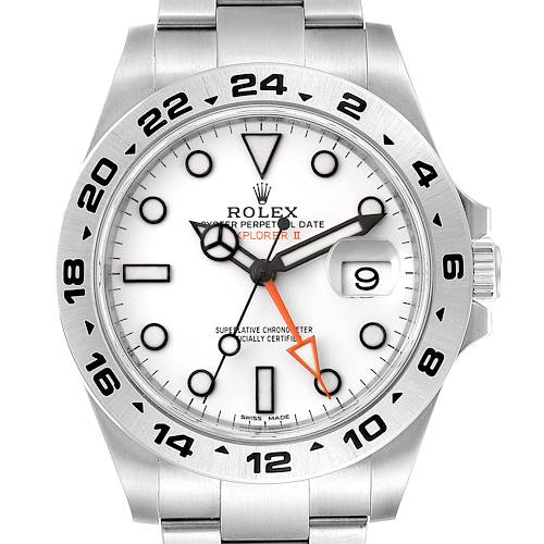 Photo of Rolex Explorer II 42 White Dial Orange Hand Steel Watch 216570 Unworn