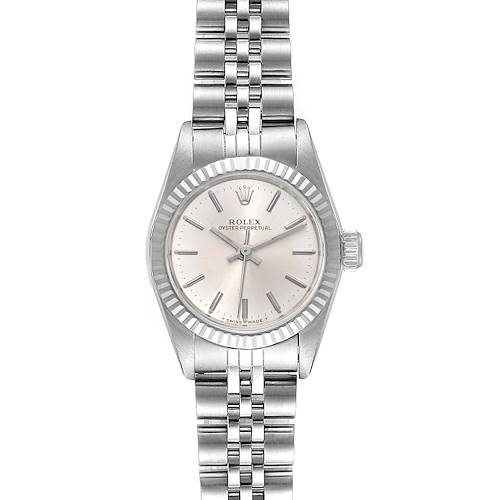 Photo of Rolex Non-Date Steel 18k White Gold Silver Dial Ladies Watch 67194 Box Papers