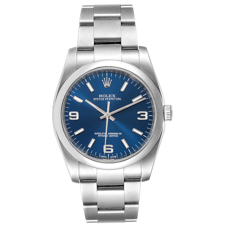Rolex Oyster Perpetual Blue Dial Oyster Bracelet Mens Watch 116000 SwissWatchExpo