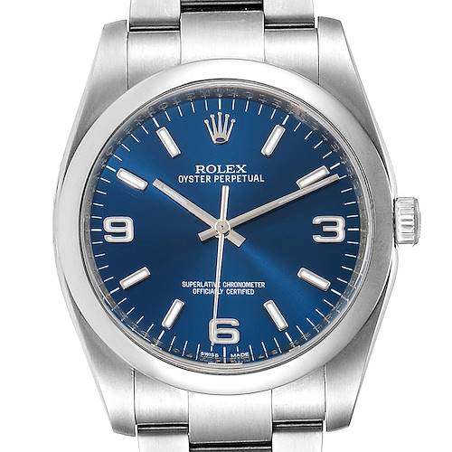 Photo of Rolex Oyster Perpetual Blue Dial Oyster Bracelet Mens Watch 116000