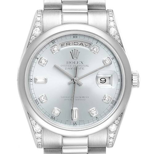 Photo of Rolex President Day-Date Platinum Ice Blue Dial Diamond Mens Watch 118296
