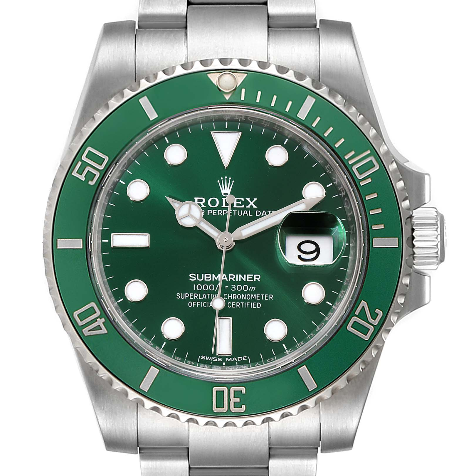 Photo of Rolex Submariner Hulk Green Dial Bezel Mens Watch 116610LV Unworn
