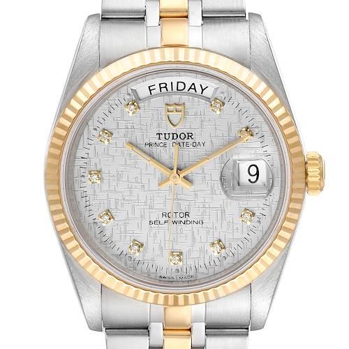 Photo of Tudor Day Date Linen Dial Steel Yellow Gold Diamond Watch 76213 Unworn