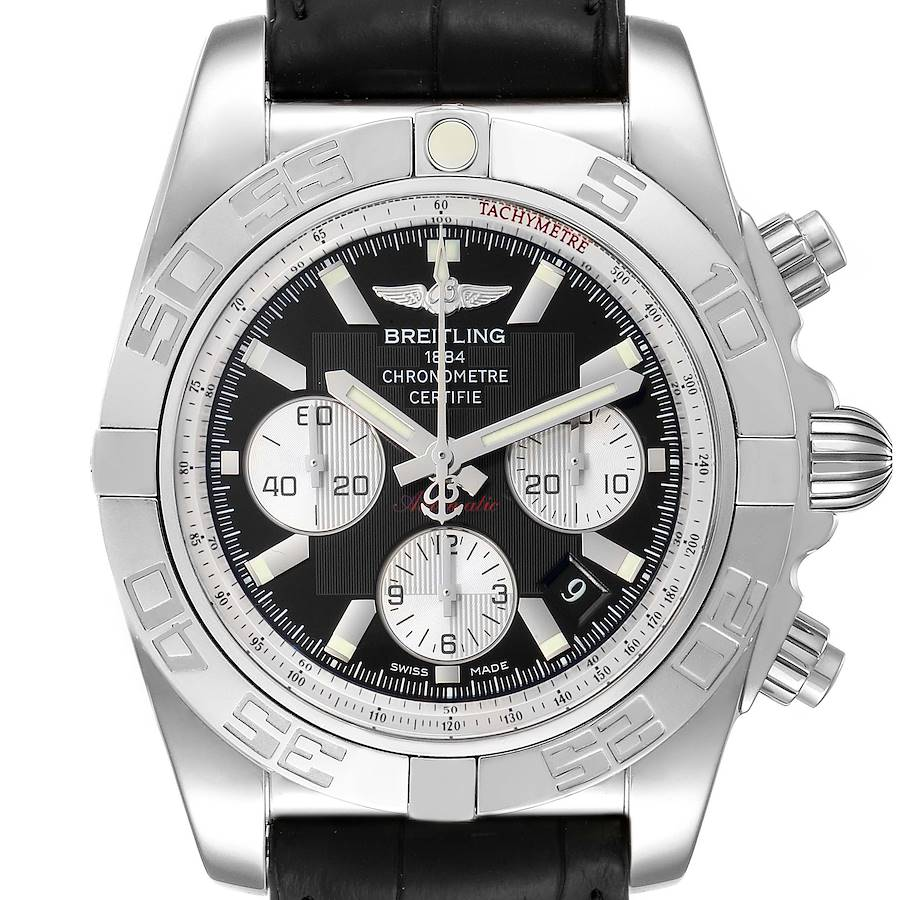 Breitling Chronomat 01 Black Dial Steel Mens Watch AB0110 Box Papers SwissWatchExpo