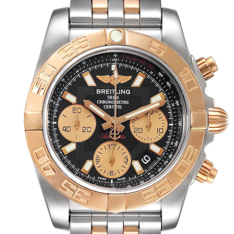 Breitling Chronomat 41 Steel Rose Gold Black Dial Watch CB0140 SwissWatchExpo