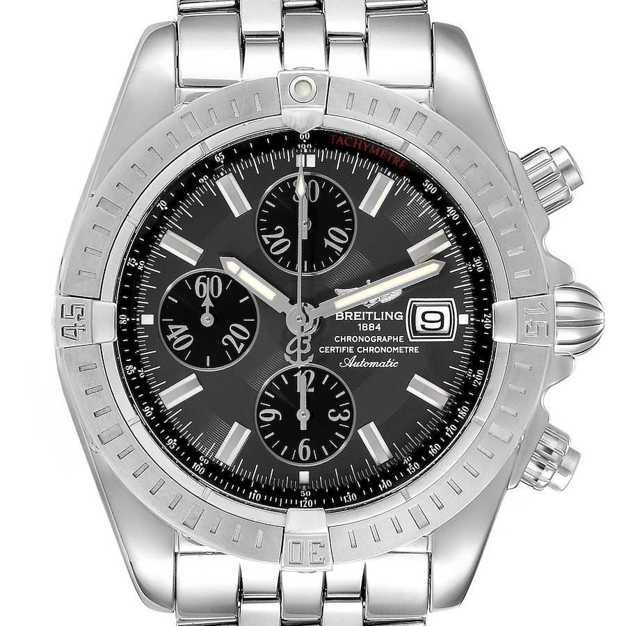 Breitling Chronomat Evolution Grey Dial Steel Mens Watch A13356 Box Papers SwissWatchExpo
