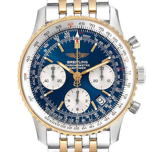 Photo of Breitling Navitimer Steel Yellow Gold Blue Dial Mens Watch D23322 Box Papers