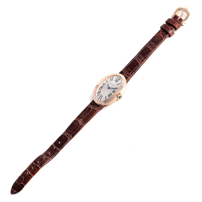 Cartier Baignoire Silver Dial Rose Gold Diamond Ladies Watch W8000007 SwissWatchExpo