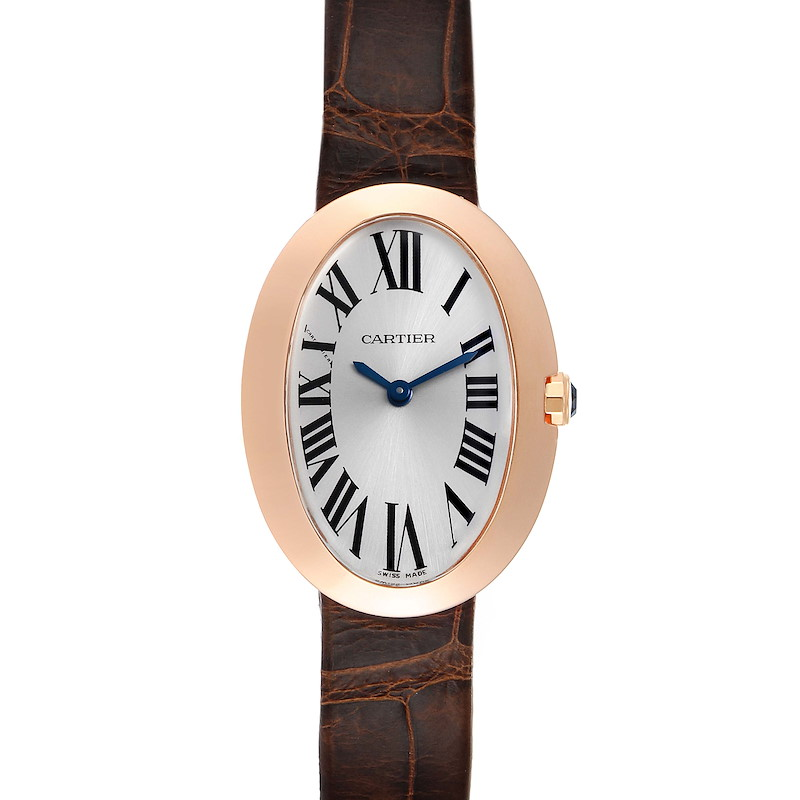 Cartier Baignoire Silver Dial Rose Gold Ladies Watch W8000007 SwissWatchExpo