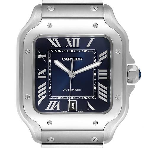 Photo of Cartier Santos Blue Dial Stainless Steel Mens Watch WSSA0030 Unworn
