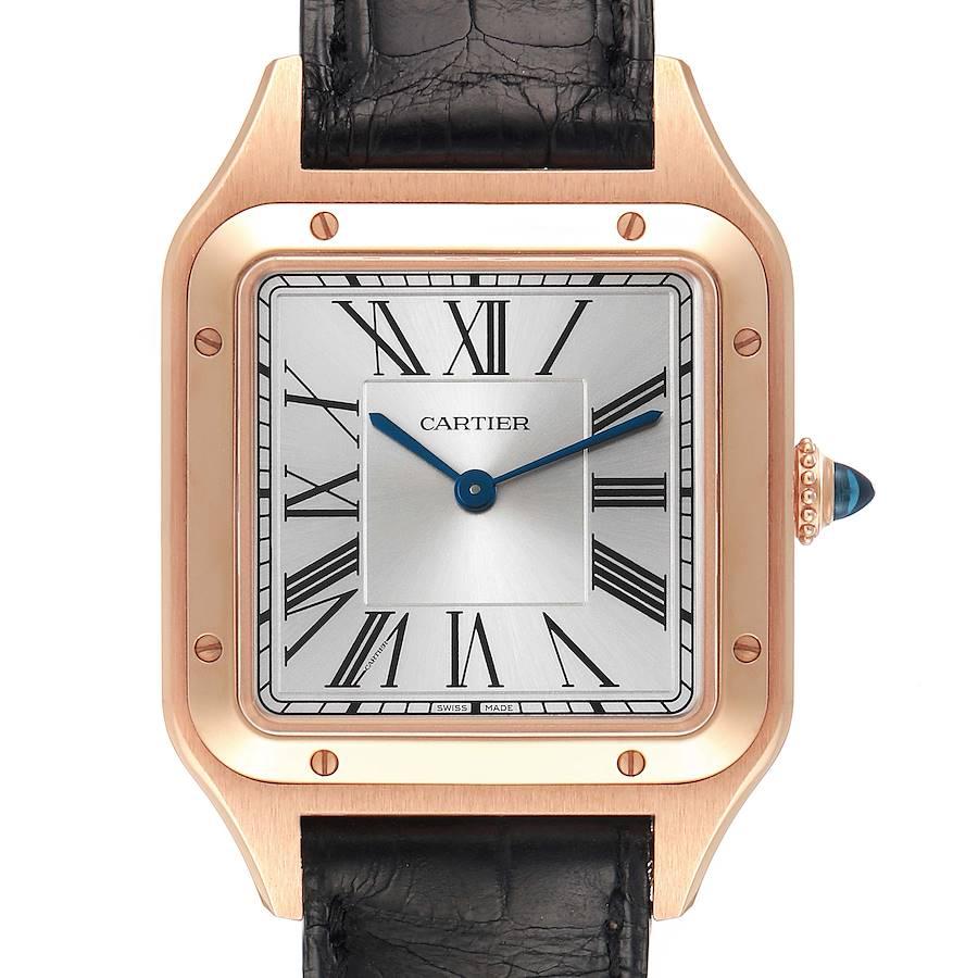 Cartier Santos Dumont Large Rose Gold Silver Dial Mens Watch WGSA0021 SwissWatchExpo