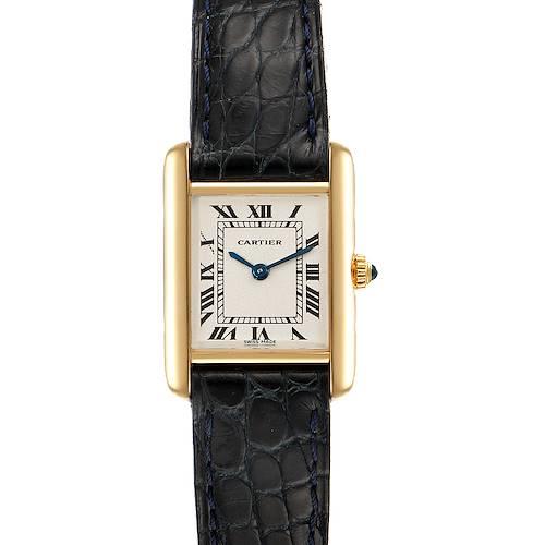 Photo of Cartier Tank Classic Paris 18k Yellow Black Strap Gold Ladies Watch