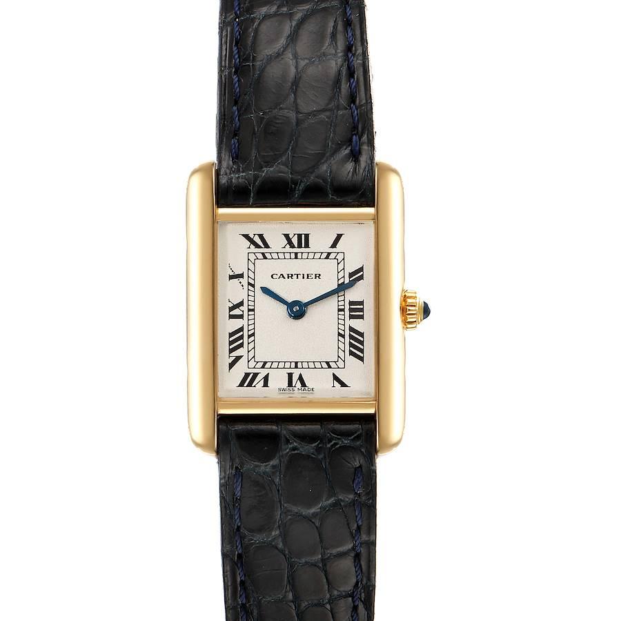 Cartier Tank Classic Paris 18k Yellow Black Strap Gold Ladies Watch SwissWatchExpo