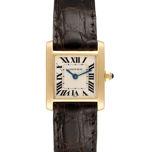 Photo of Cartier Tank Francaise Yellow Gold Brown Strap Ladies Watch W5000256