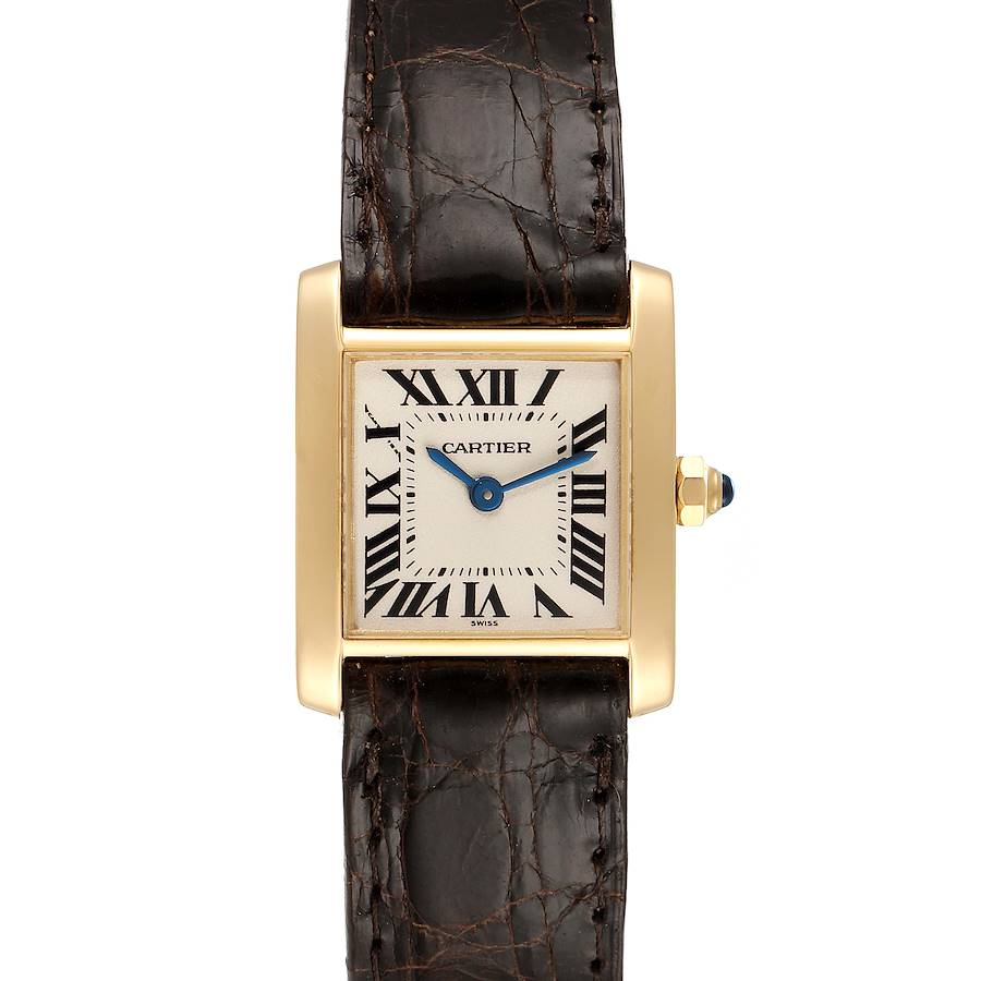 Cartier Tank Francaise Yellow Gold Brown Strap Ladies Watch W5000256 SwissWatchExpo