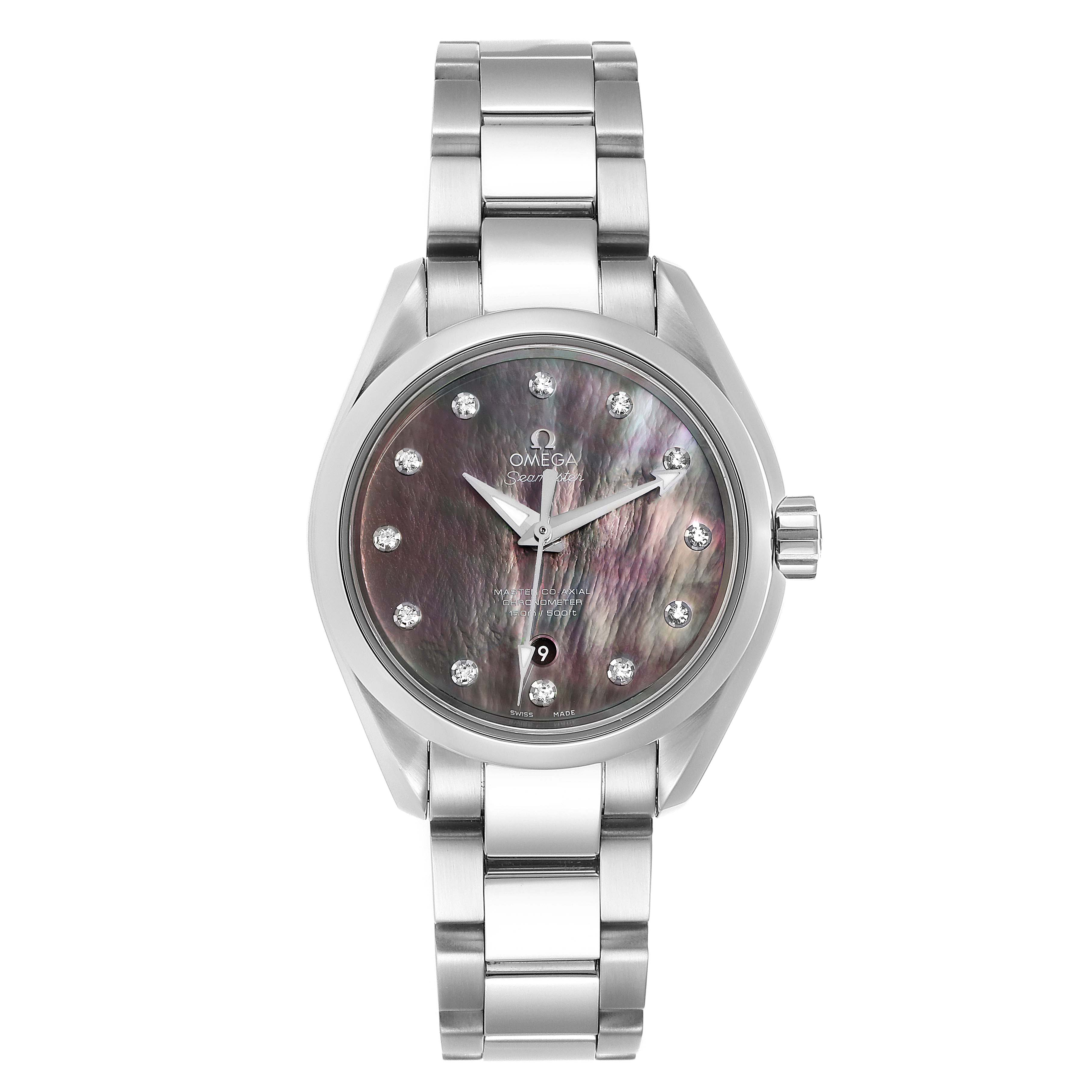 Omega Aqua Terra 34 Diamond Ladies Watch 231.10.34.20.57.001 Box Card SwissWatchExpo