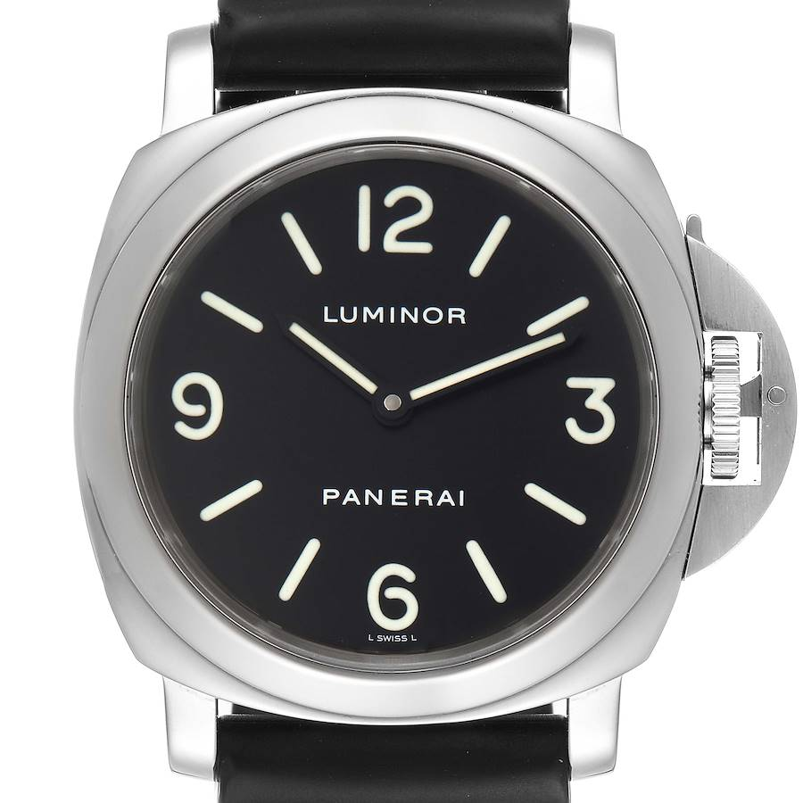 Panerai Luminor Base 44mm Black Dial Steel Mens Watch PAM00112 Box Papers SwissWatchExpo