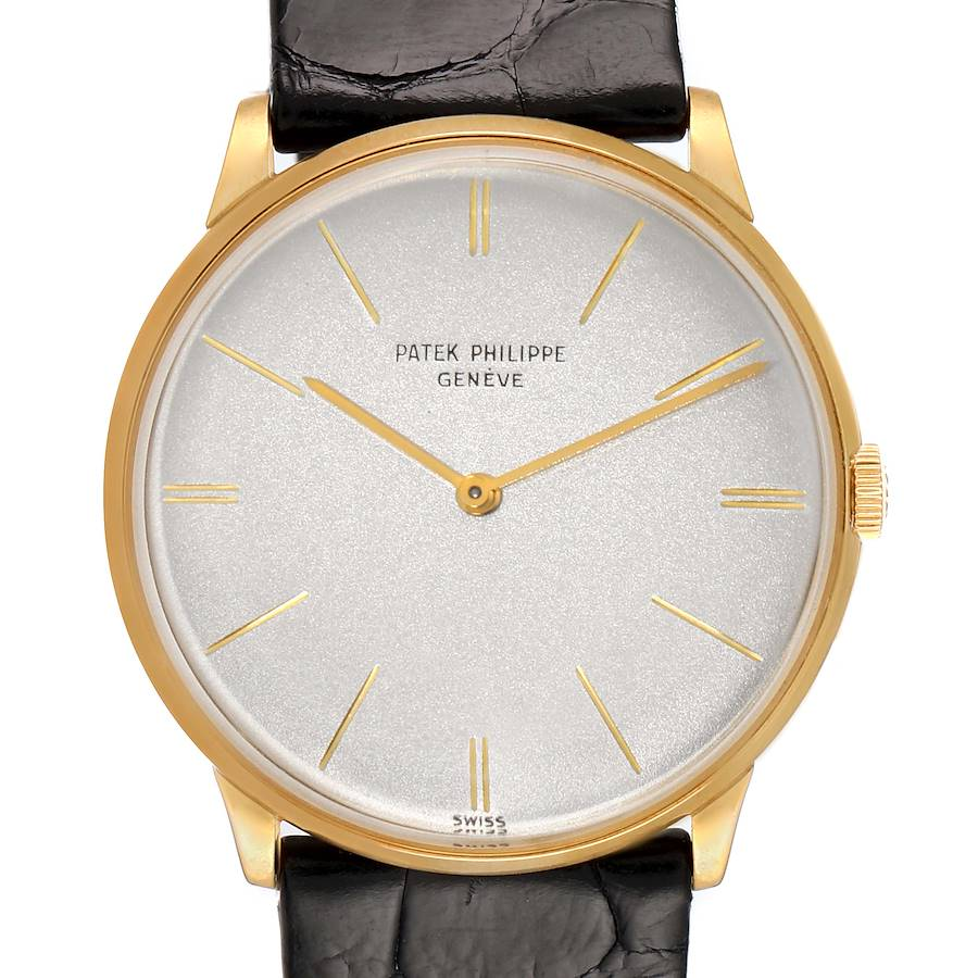 Patek Philippe Calatrava Yellow Gold Vintage Mens Watch 2573 Papers SwissWatchExpo