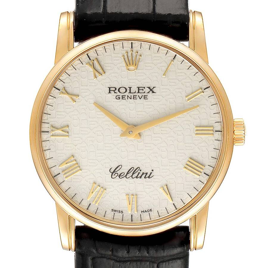 Rolex Cellini Classic Yellow Gold Ivory Anniversary Dial Mens Watch 5116 SwissWatchExpo