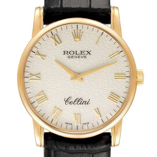 Photo of Rolex Cellini Classic Yellow Gold Ivory Anniversary Dial Mens Watch 5116