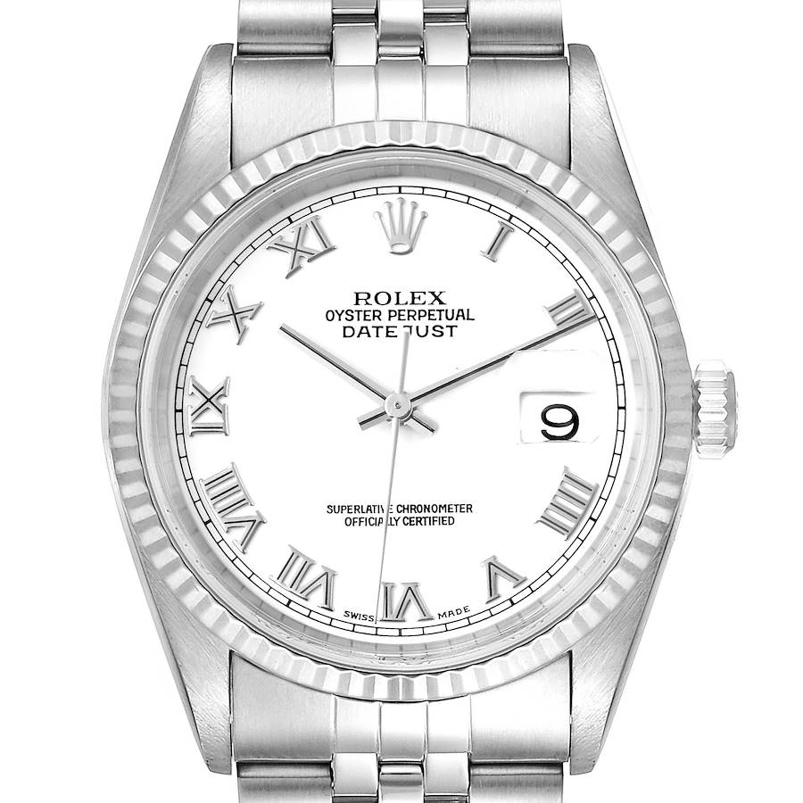 Rolex Datejust Steel White Gold White Dial Jubilee Bracelet Watch 16234 SwissWatchExpo