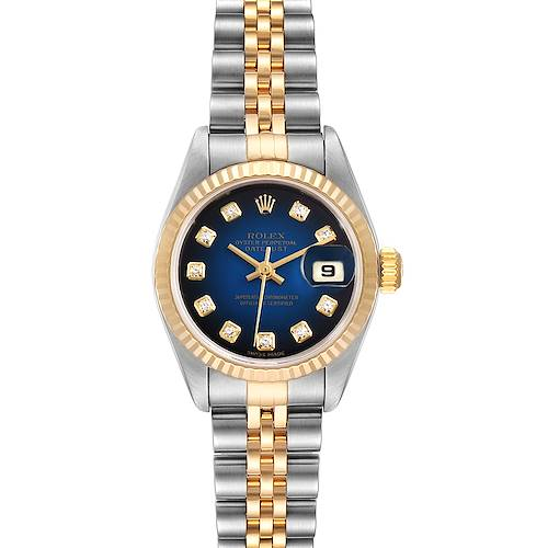 Photo of Rolex Datejust Steel Yellow Gold Blue Vignette Diamond Ladies Watch 79173
