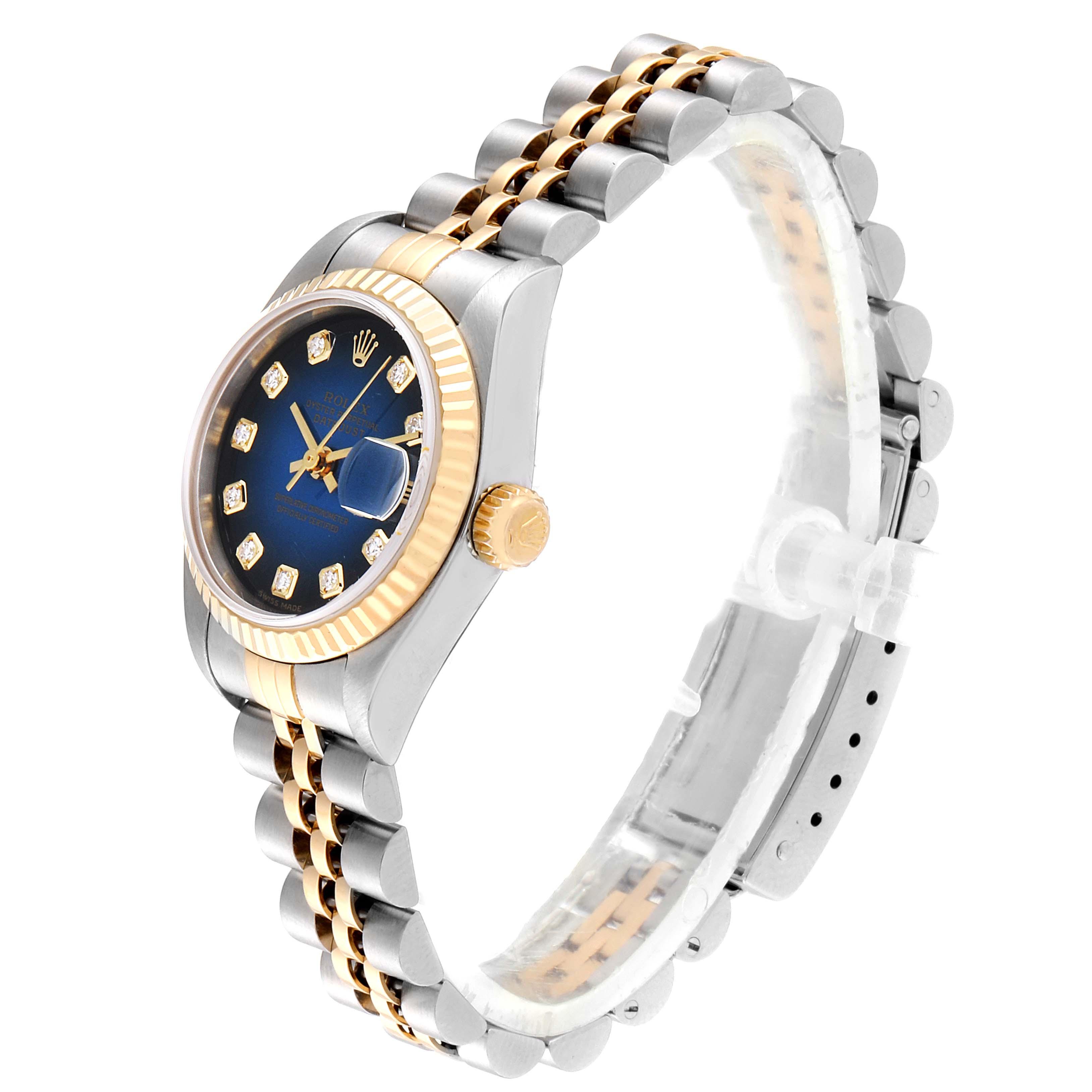 Rolex Datejust Steel Yellow Gold Blue Vignette Diamond Ladies Watch 79173 SwissWatchExpo