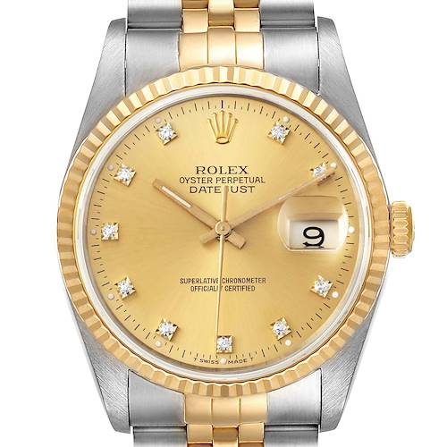 Photo of Rolex Datejust Steel Yellow Gold Champagne Diamond Dial Mens Watch 16233