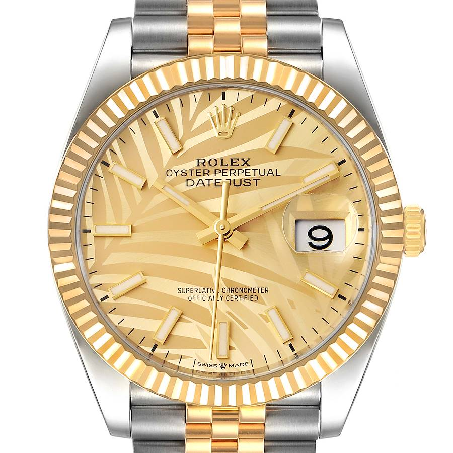 Rolex Datejust Steel Yellow Gold Golden Palm Dial Mens Watch 126233 Unworn SwissWatchExpo