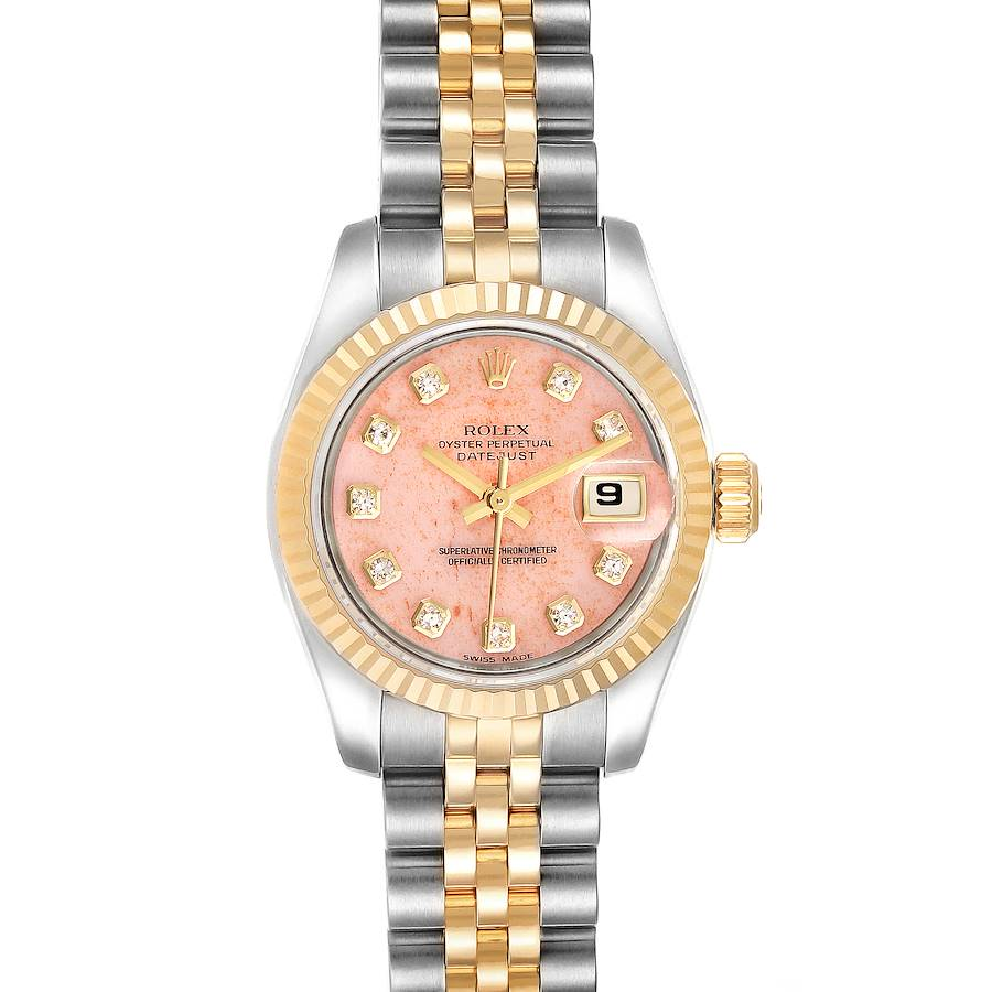 Rolex Datejust Steel Yellow Gold Pink Coral Diamond Dial Watch 179173 Box Papers SwissWatchExpo